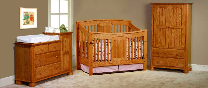 Amish Meridian Convertible Baby Crib Made in USA