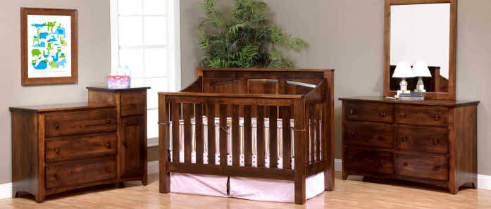 Amish Mission Convertible Baby Crib Made in USA