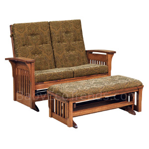 Amish Bow Arm Glider Loveseat