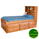 Amish 6 Drawer Captain's Bed
