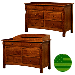 Amish Caspian 6 Drawer Dresser / Baby Changer