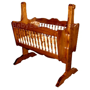 Amish.Classic.Spindle.Baby.Cradle.