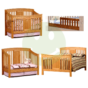 Raised Panel Crib · Made.in.America.Amish.Meridian.4in1.Convertible.Baby.