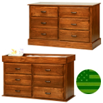 Amish Reversible 6 Drawer Baby Changing Dresser