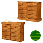 Amish Reversible 8 Drawer Baby Changing Dresser