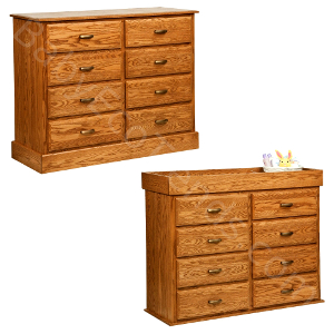 USA Made Amish Non Toxic Baby Nursery : Amish 8 Drawer Reversible Baby Changing  Dresser :: Baby Eco Trends