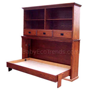 Made.in.America.Amish.Mission.Bookcase.Murphy.Wall.Bed.Open.BETWM300.jpg