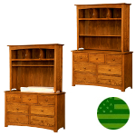 Amish Monterey 7 Drawer Baby Changer / Dresser with Hutch