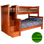 Amish Morgan Twin & Full Bunk Bed with Steps