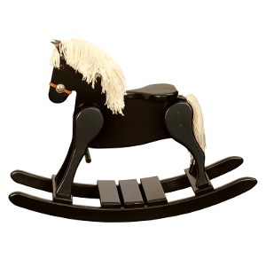 Amish Child's Black Deluxe Rocking Horse - Small