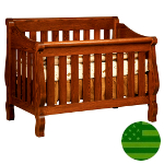 Amish 4 in 1 Convertible Baby Crib - Sleigh