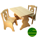 Amish Child's Trestle Table & Heart Chairs Set