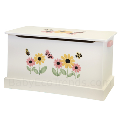 Amish Medium White Stenciled Toy Box
