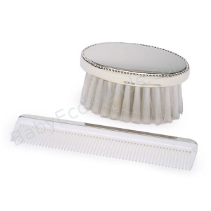 z 12-2-13 Sterling Silver Baby Boy's Beaded Comb & Brush Set - NO LONGER AVAILALBE