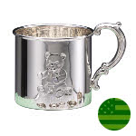 Sterling Silver Baby Cup - Teddy Bear