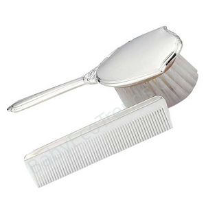 Sterling Silver Baby Girl's Comb & Brush Set